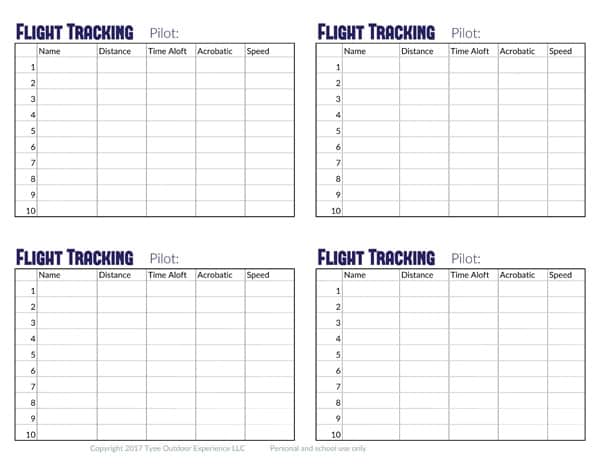 paper airplane tracking sheet
